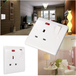 UK Plug Wall Socket Power Adapter Charger Outlet Switch Station Panel LED