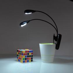 Wiederaufladbare USB 2 Dual Arm LED Lese Klipp auf Schreibtischlampe
