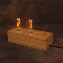 Tappning Nostalgisk Dubbel Edison Glödlampa Bordslampa Logga Säng Dekoration