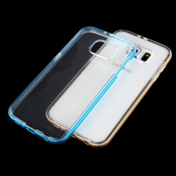 Metal Frame + TPU Soft Clear Back Case Cover For Samsung Galaxy S6