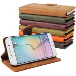 Matte Tegnebog PU Læder Stativ Etui Cover til Samsung Galaxy S6 Edge G9250
