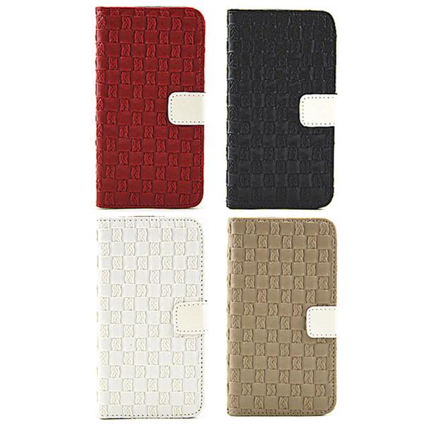 Weave Muster Standplatz Kartenhalter PU Leder Etui für Samsung Galaxy S6