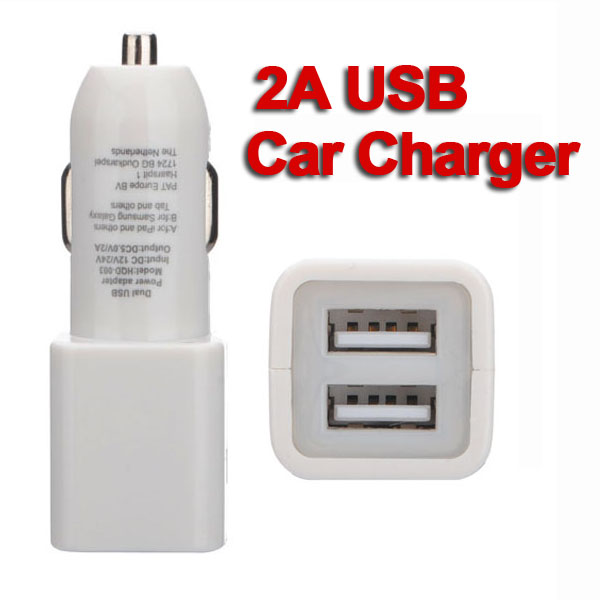 2A Dual USB Biloplader Adapter til iPad iPhone Mobil iPhone 5 5S 5C