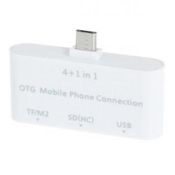4 i 1 Micro USB OTG Kortläsare för mobiltelefoner-Vit