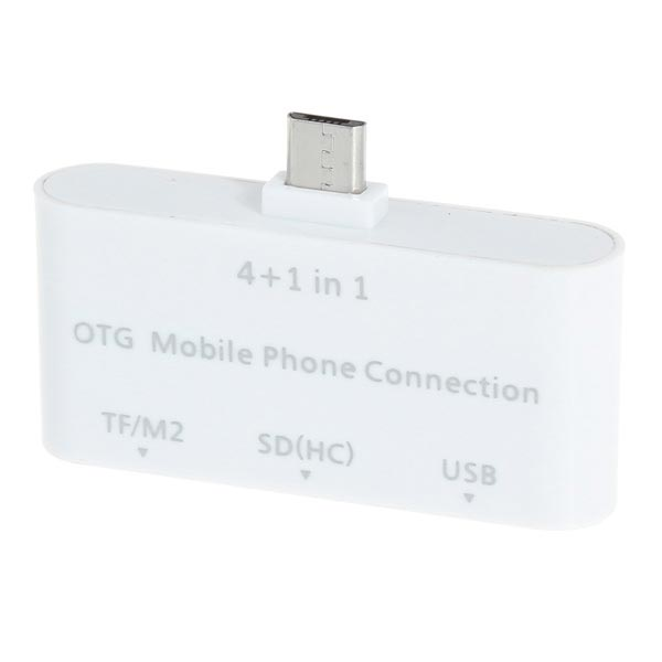 4 in 1 Micro USB OTG Card Reader For Mobile Phones-White Memory Cards