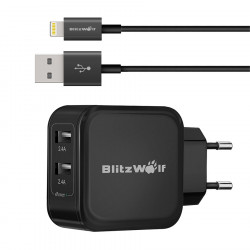 Apple MFI Blitzwolf™ Lightning To USB Cable And 4.8A 24W Dual USB Travel Wall EU Charger Kit Combo