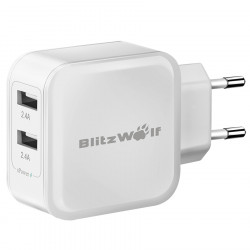 BlitzWolf™ 4.8A 24W Dual USB Travel Wall EU Charger With Power3S Tech For iPhone iPad Samsung