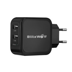 BlitzWolf ™ 4.8a 24W Dual USB Travel Wall EU laddare med Power3S Tech för iPhone iPad Samsung