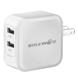 BlitzWolf ™ 4.8a 24W Dual USB Travel Wall US oplader med Power3S Tech til iPhone iPad Samsung