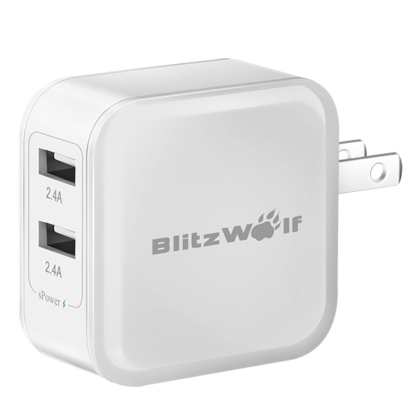 BlitzWolf ™ 4.8a 24W Dual USB Travel Wall US oplader med Power3S Tech til iPhone iPad Samsung iPhone 5 5S 5C