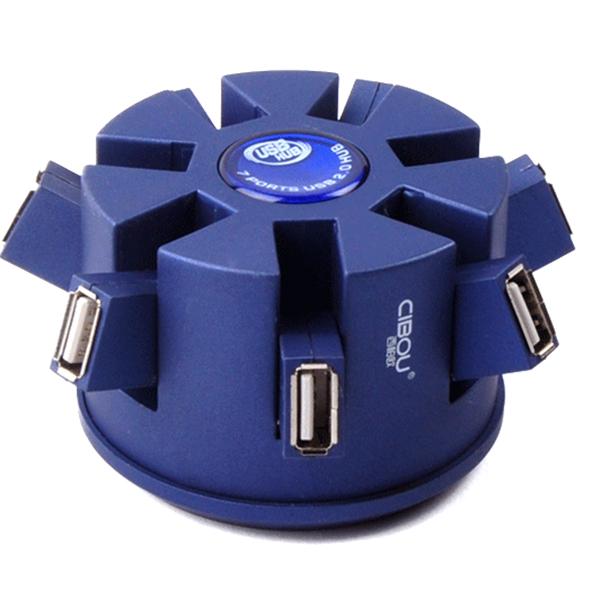 Cibou 1 till 7 USB 2.0-Hubb med Power Port USB Splitter Converter Minneskort