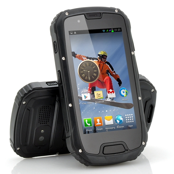 "S09 4,3"" Android4.2 MT6589 Quad Core IP68 Vattentät 3G Smartphone Arbetstelefoner"