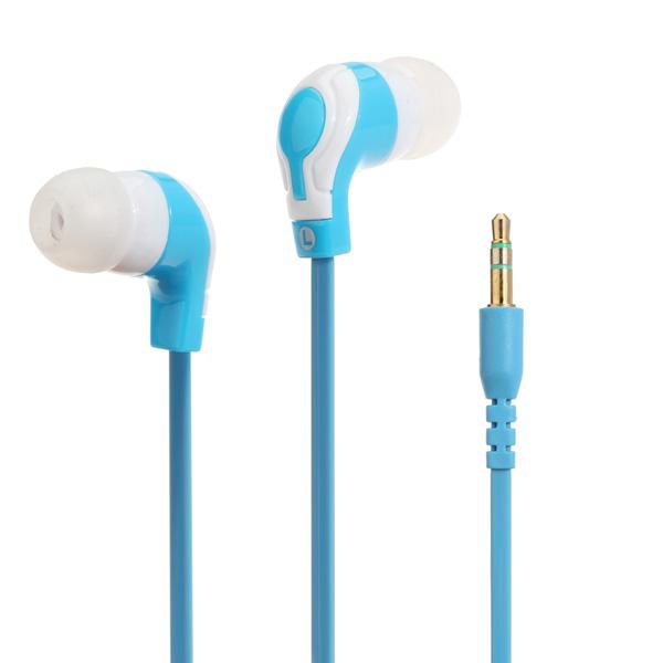 Stilvolle Flachkabel In Ohr Kopfhörer Blau und Weiß 3,5 mm Klinkenstecker Kopfhörer & Lautsprecher