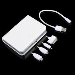 10400mAh Dual USB External Batteri PowerBank med Fire Adaptere