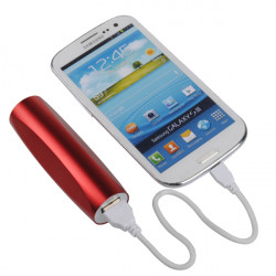 2600mAh Single Pitch Cylinder Metall PowerBank till Mobiltelefon