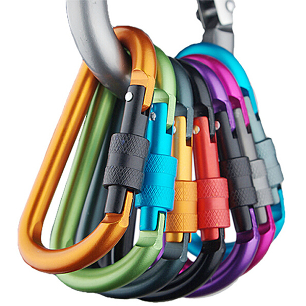 5PCS Multi Colors Safety Buckle Aluminum Carabiner Key Chain Camping & Hiking
