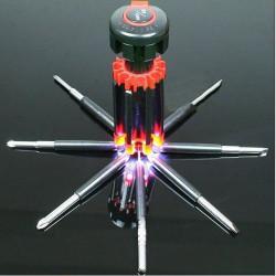 8 in 1 Multifunktions Haushalt Werkzeuge Schraubendreher mit 6 LED