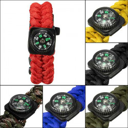 "9"" Paracord Bracelet Outdoor Survival Compass/Whistle Emergency Kits"