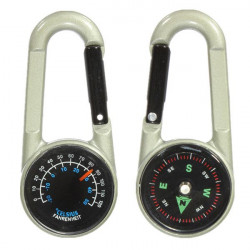 Double Sided Metal Mini Compass Thermometer Key Chain