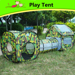 Kids Sports Outdoor Fun Lawn Camping Tent Playhouse Tunnel Crawl
