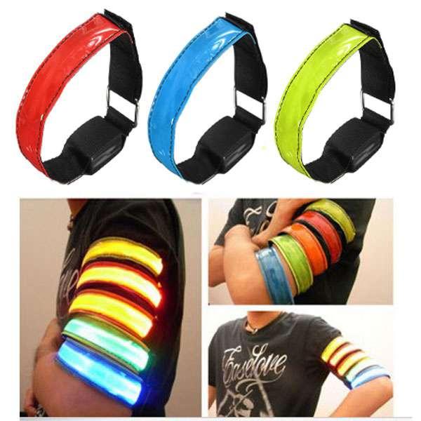 LED Safety Reflective Armbånd Blinkende Bælte Strap Wrist Arm Wrap Band Camping & Udendørs Aktiviteter