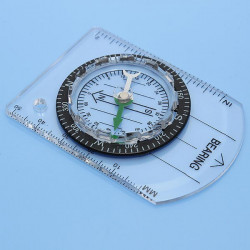 Outdoor Camping Hiking Mini Baseplate Map Scale Compass Measure Ruler