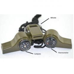 Överlevnad Verktyg Triad Visselpipa Kompass Termometer med Hang Rep
