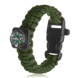 Tactical Paracord Outdoor Survival Bracelet Buckle Band Compass Whistle