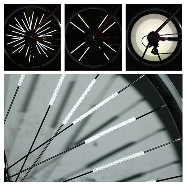 12 Pcs Bicycle Wheel Spoke Reflector Reflective Mount Clip Tube Cycling