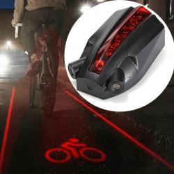 5 LED 2 Laser Beams Intelligent Bike Logo Sikkerhed Baglygte
