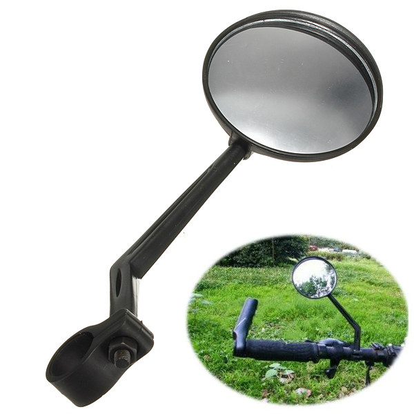 Bicycle Back View Mirror Bike Handlebar Rearview Convex Glass Black Cycling
