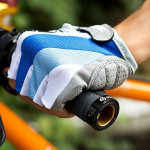 Cykel Bike Silikone Komfortabel Half Finger Fingerløse Handsker Blå Cykel