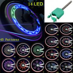 Bicycle  Bike Waterproof 14 LED 45 Patterns Wheel Spokes Light