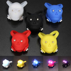 Bike Bicycle Waterproof Silicone Skull Safety LED Rear Tail Light
