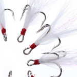 10pcs/lot Treble Feather Fishing Baits Hooks Crank Lure Accessories Fishing
