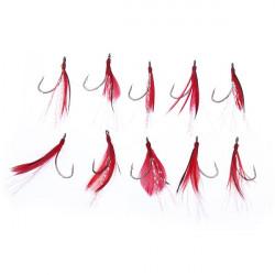 10pcs/set Sigle Hook Feather Fishing Bait Lure Hooks for Grass Carp