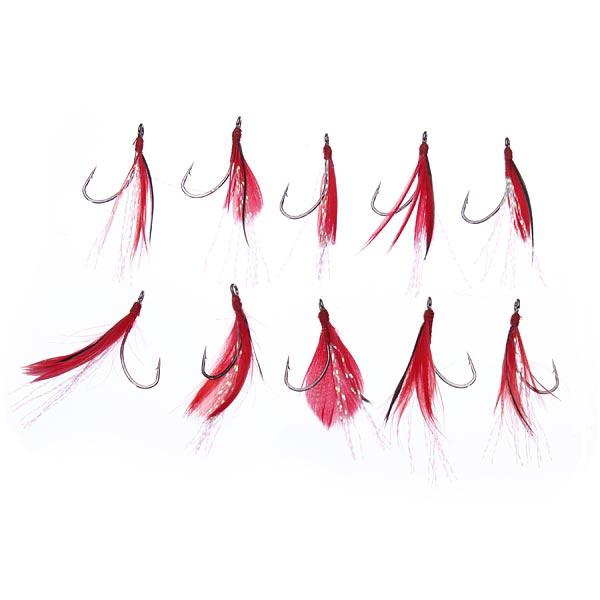 10st / Set Sigle Krok Feather Fiskebete Lure Krokar för Gräskarp Fiske