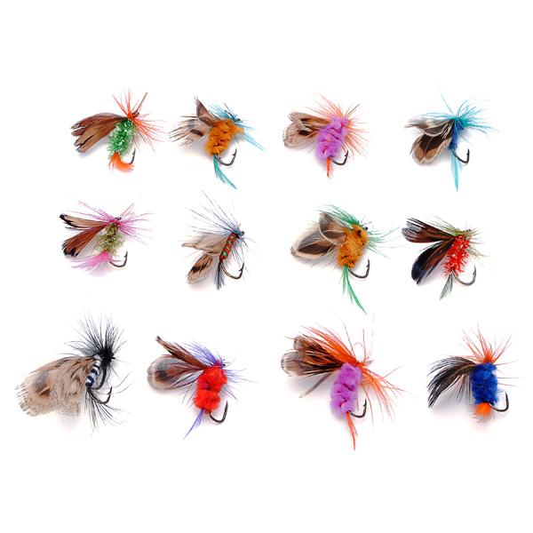 12pcs Fly Fishing Hooks Fishing Lures Feather Bait Hook Fishing