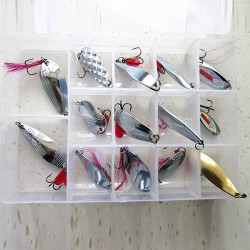14Pc Fishing Spoon Treble Feather Hook Spinner Bait with Box