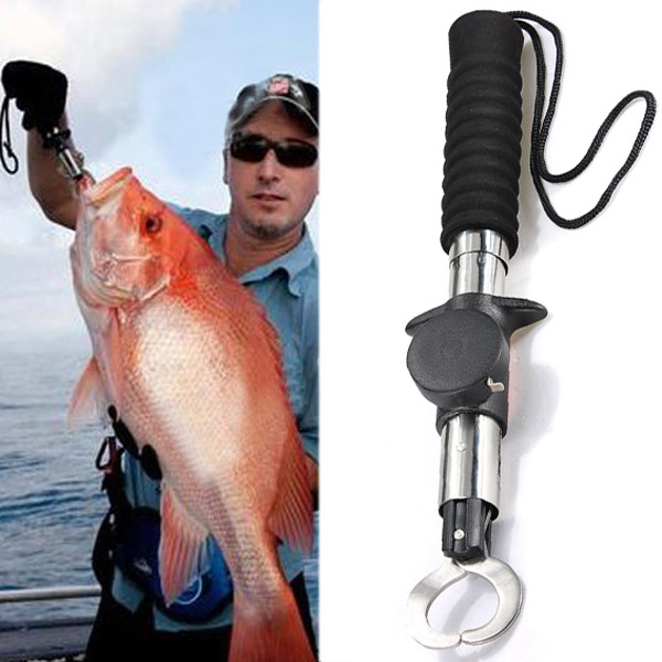 3in1 Fish Lip Gripper Trigger Fishing Holder Spring Weight Scale Ruler Fishing