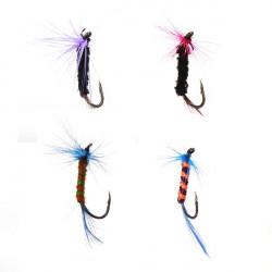 4pcs/lot Fly Fishing Hooks Lures Life-like Feather Baits Hooks