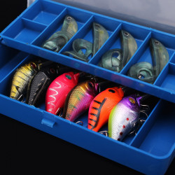 Double Deck Fishing Tackle Box 12 Unit Compartment Fishing Accessories