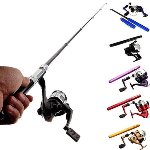Mini Telescopic Portable Pocket Pen Fishing Rod Reel+Nylon Line set Fishing