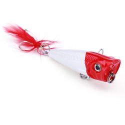 Popper Lure Floating Crankbaits Fishing Baits Feather Treble hooks