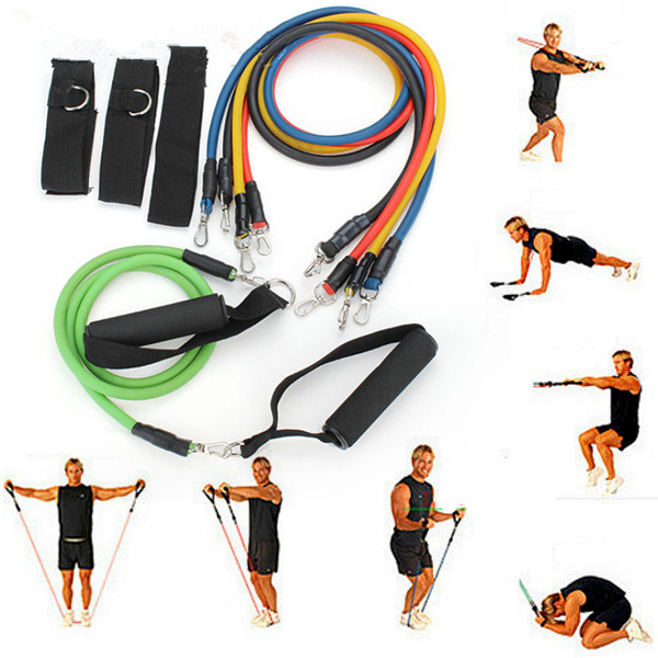 11 PC Latex Resistance Bands Exercise Set Fitness & Body Building
