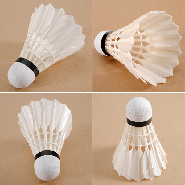 12PCS White Goose Feather Shuttlecocks Birdies Badminton Fitness & Body Building