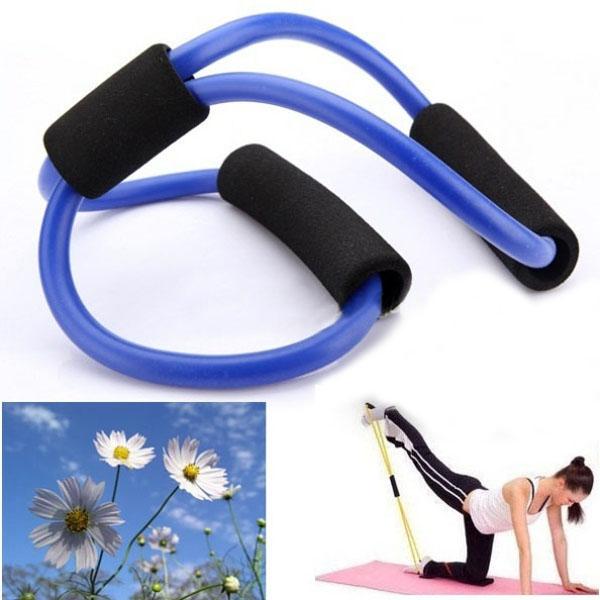 3X Yoga Motståndsbands Tube Fitness Muscle Workout Exercise Tubes 8 Type Blue Fitness & Träningsutrustning