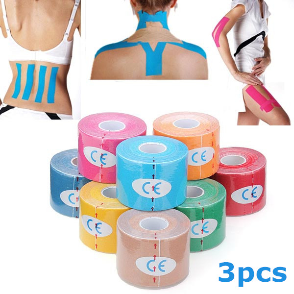 3pcs Yellow Kinesiology Tape Sports Muscles Care Therapeutic Bandage Fitness & Body Building