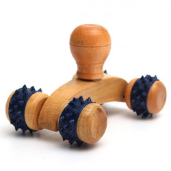 Fitness Wooden 4Rubber Wheels Body Hands Arms Legs Massage Roller