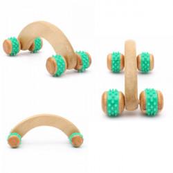 Fitness Wooden Roller Body Neck Back Leg Waist Manual Massager
